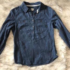 Toms Denim Half Button Down Shirt